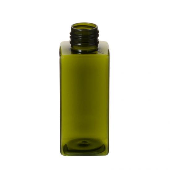Transparent Square PET Plastic Bottle Olive Green Color