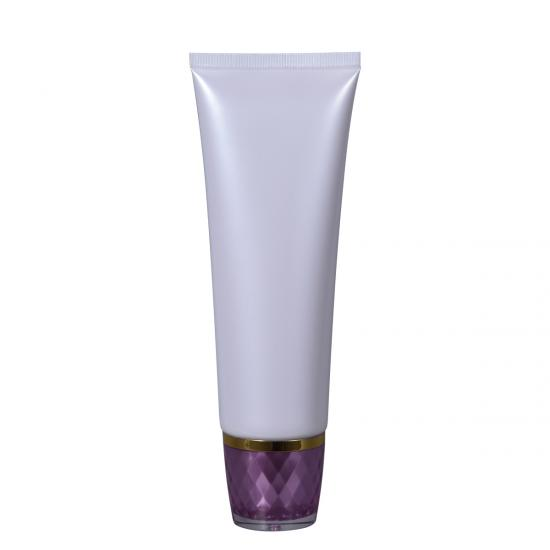 OEM Pearl White Color Cosmetic Soft Tube in Crystal Cap manufacturers
